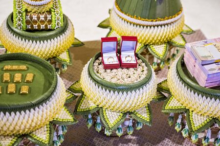 Phan Khanmhak for marriage Thai tradition that requires money to ask the bride and relatives. Traditional in Counting the dowry and ring in Thai wedding cultural by parent of bride and groom. Stockfoto