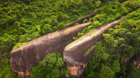 High angle view from unmanned aircraft. Three whale stones. Bird eye view shot of three whales rock in Phu Sing Country park in Bungkarn, Thailand.