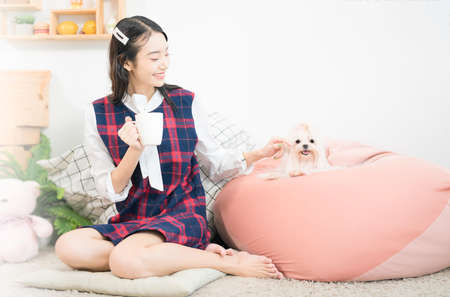 Pet Lover concept. The girl is smiling with the Shiba Inu dog on in the living room. Shiba Inu is a Japanese dog that is famous throughout the world. Selective focus. Stockfoto