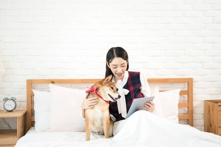 Pet Lover. Shiba Inu dog and Asian woman in the bedroom. The girl and the dog are use the tablet on the bed.