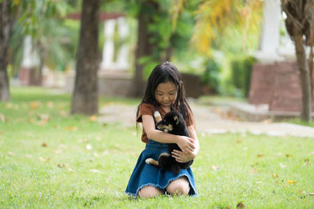 An Asian girl is playing with a dog in the park. Girl and Shiba inu dog. Stockfoto - 152178147