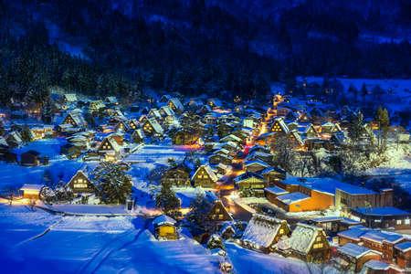 The landscape of Japan. Shirakawago twightlight. Historic Village of Shirakawago in winter, Japan.