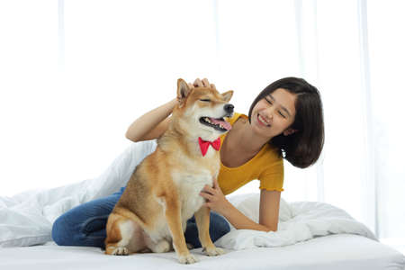 A girl playing with a Shiba Inu in a white bedroom with a morning sunshine window.