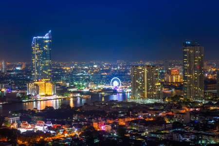 Aerial View of Thailand. Bangkok in the night with beautiful lights. Bangkok, Thailand. Dec 31, 2018. Stockfoto - 154545545