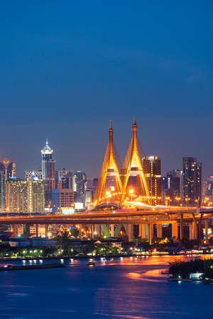 View of Bangkok with heavy fog. Beautiful Bhumibol Bridge and river landscapes. Bangkok Thailand. Sep 6, 2020.