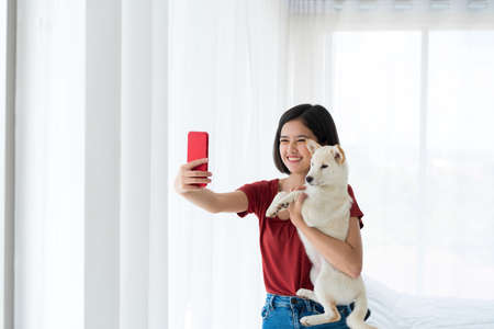 Young women selfie with white dogs with mobile phones. girl holding shiba inu dog. Stockfoto