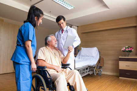 Doctor and patient healthcare concept. doctor and nurse, patient using tablet on wheelchair in hospital.