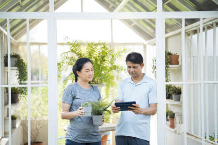 Happy couple and small business growing plants. Couple putting plant to mini glass house. Man and Female using a tablet in a succulent house.