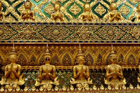 thaiart: Thai art on the wall of temple in Grand palace,Bangkok,Thailand