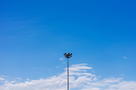 Isolated lamp post with beautiful blue sky.