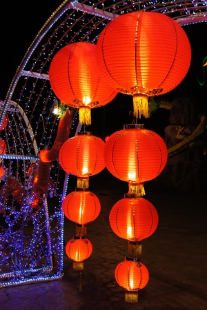 favorable: Paper lanterns are favorable thing for decorate houses and places in Chinese New Year, red is a color of goodness and lucky. Stock Photo