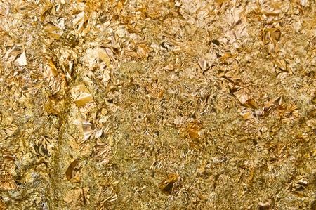 Texture of gold foils on Buddha image. photo