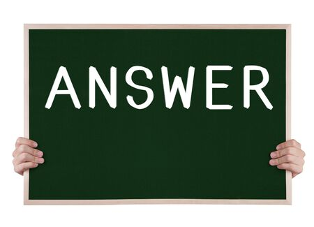 answer on blackboard with hands