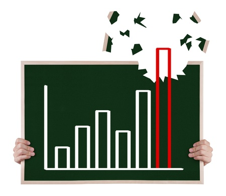 up growth: over achievement  growth graph on blackboard with hands