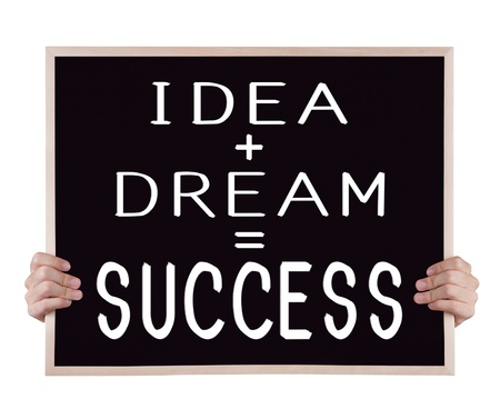 idea plus dream equivalent to success on blackboard with hands Stock Photo - 18511006