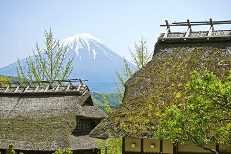 Fuji Mountain and old village in Outdoor. Stock Photo