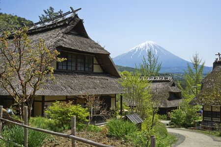 Old Japanese village and Mt.Fuji in Japan. Stock Photo