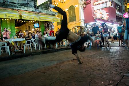aerobica: B Boy dancing at Khao San Road Bangkok,Thailand Editorial