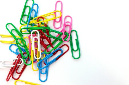 paper clips: Paper clips colorful on white background