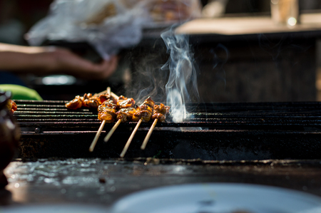 Beef satay food must taste when visiting Chiang Mai, Thailand. Stok Fotoğraf