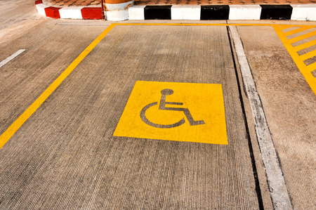Handicapped People Parking Lot With The Wheel Chair Icon. Stock ...