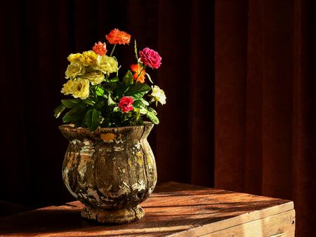 Still Life Of Flower Vase Arrangement Of Country Rose In Vintage