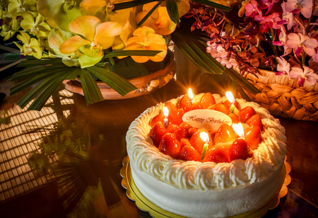 delightful: Candles light on strawberry birthday cake.So delightful.