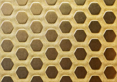 Gold coated metal plate from vintage furniture finishing. Art Deco pattern metal sheet, sand blasted.