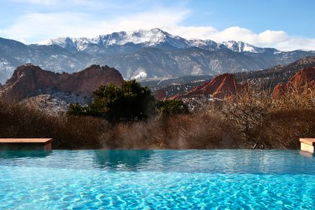 Infinity Pool with Mountain View Stock Photo - 2450418