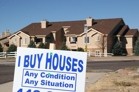 glut: Mortgage Crisis, Avoid Foreclosure Sign Stock Photo