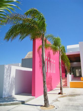 Tropical Resort Spa Entry in Bright Colors photo