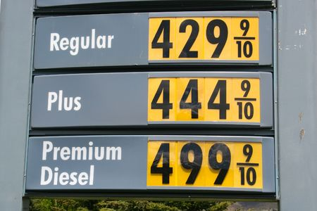regular: High Gas Price, Regular 4.29 a Gallon Stock Photo