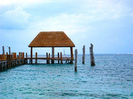 palapa: Beach Palapa Hut on Caribbean Ocean