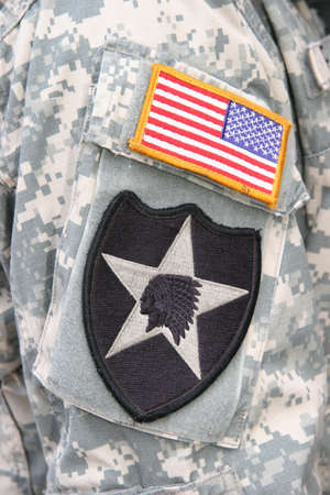 fatigues: Indian Head patch of the 2nd Infantry Division of the US Army