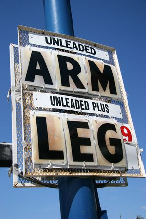 unleaded: High Gas Price, Arm and Leg Stock Photo