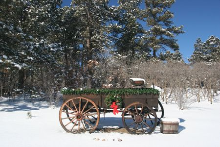 Old wooden wagon decorated for Christmas. Snowy scene. Used as a Christmas card or non religious Holiday Card. photo