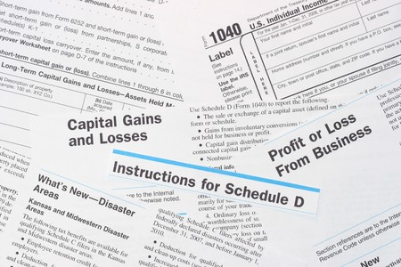 IRS Federal Income Tax Forms 1040 and Schedule D photo