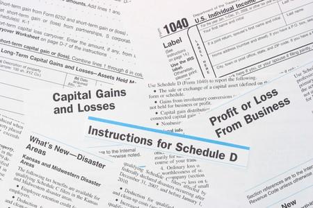 IRS federale delle imposte sui redditi 1040 e le forme Scadenzario D