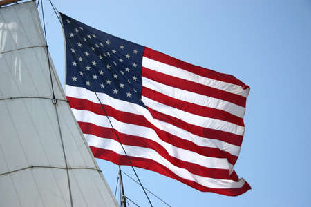 United States Flag with Ship Sail Stock Photo - 4822378