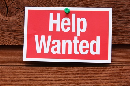 economic recovery: Help Wanted Sign Stock Photo