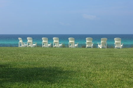 Eight Adirondack Beach Chairs with Ocean View photo