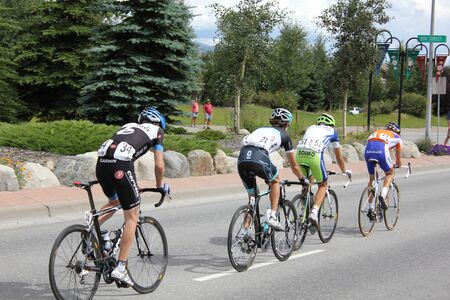 levi: SILVERTHORNE, CO - AUGUST 27:USA PRO Cycling Challenge Stage 5 cyclists ride from Steamboat Springs to Breckenridge, Colorado, August 27, 2011 in Silverthorne, CO.