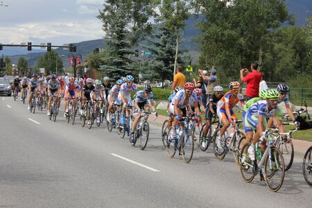 levi: SILVERTHORNE, CO - AUGUST 27:USA PRO Cycling Challenge Stage 5 cyclists ride from Steamboat Springs to Breckenridge, Colorado, August 27, 2011 in Silverthorne, CO.  Editorial