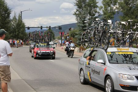 SILVERTHORNE, CO - AUGUST 27:USA PRO Cycling Challenge Stage 5 cyclists ride from Steamboat Springs to Breckenridge, Colorado, August 27, 2011 in Silverthorne, CO.  Stock Photo - 10424255