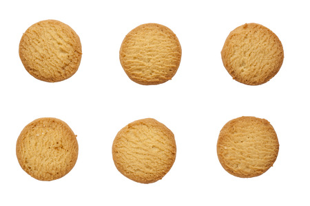 morsels: short pastry butter cookies isolated on white background.