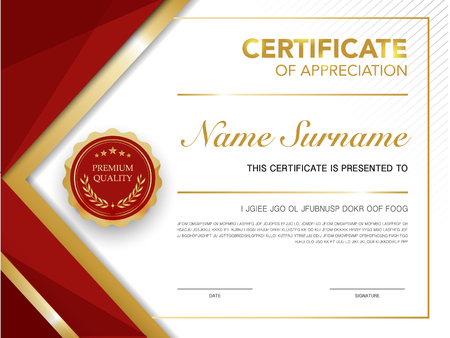 certificate template: diploma certificate template red and gold color with luxury and modern style vector image.