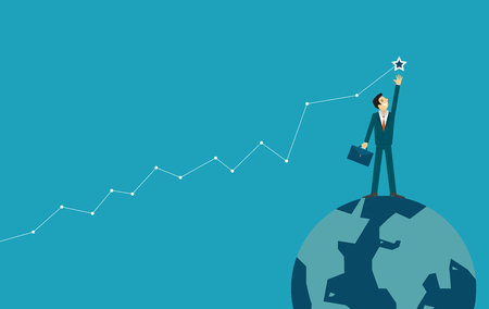 businessman is helping hand to success. business concept illustration. Illustration
