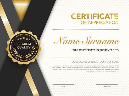 diploma certificate template black and gold color with luxury and modern style vector image. Иллюстрация
