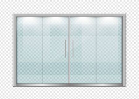 Double sliding glass doors with automatic motion sensor. vector design.