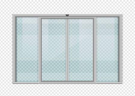 Double sliding glass doors with automatic motion sensor. vector design.
